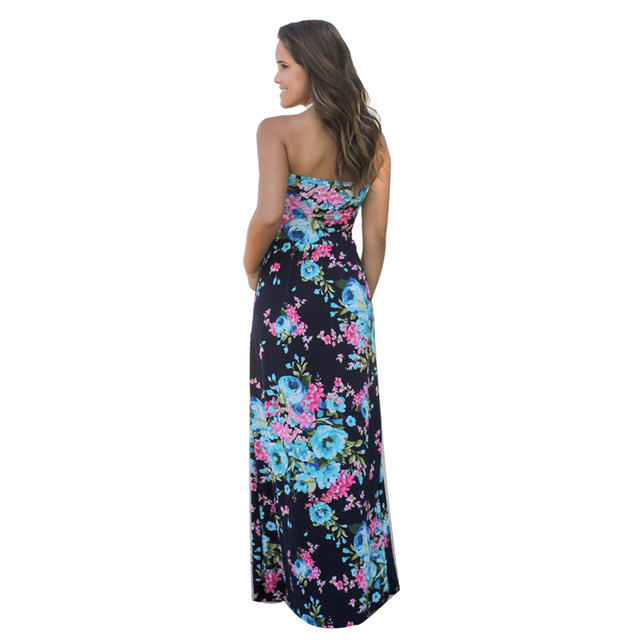 5df2661fec871 ELSVIOS Women Sexy Strapless Floor Length dress Floral printed Boho Dress  Ladies waist wrapped 2017 Summer Maxi Dress vestidos -in Dresses from ...