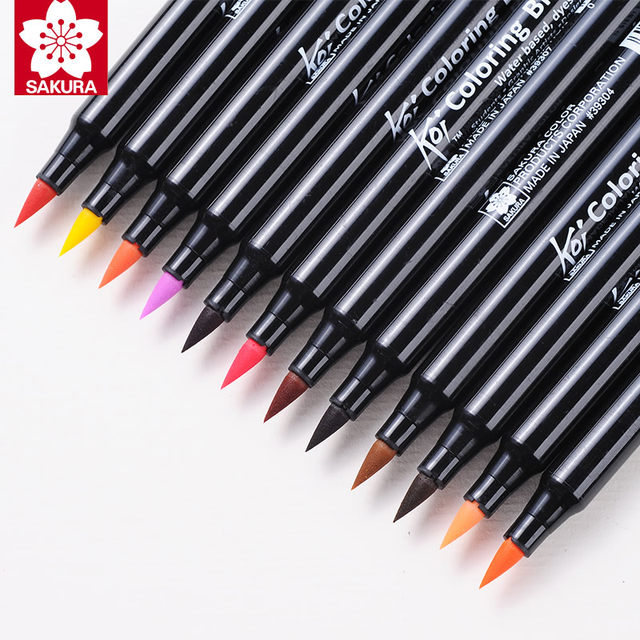Online Shop Sakura Koi Coloring Brush Pen XBR 6 Gray/12/24/48 Colors ...