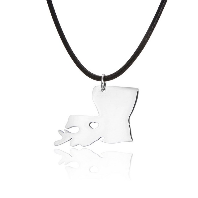 State Pendant Heart Love Necklaces Map Geography Pendants Outline