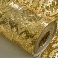Papel tapiz dorado clásico de lujo rollo de papel tapiz de papel de pared de Damasco con relieve para sala de estar papel de pared brillante papel de aluminio dorado