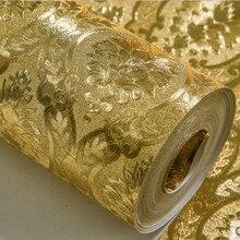 Luxus Klassische Gold Tapete Rollen Schlafzimmer Wohnzimmer Relief Damast Wand Papier Glitter Tapeten Gold Folie papel de parede