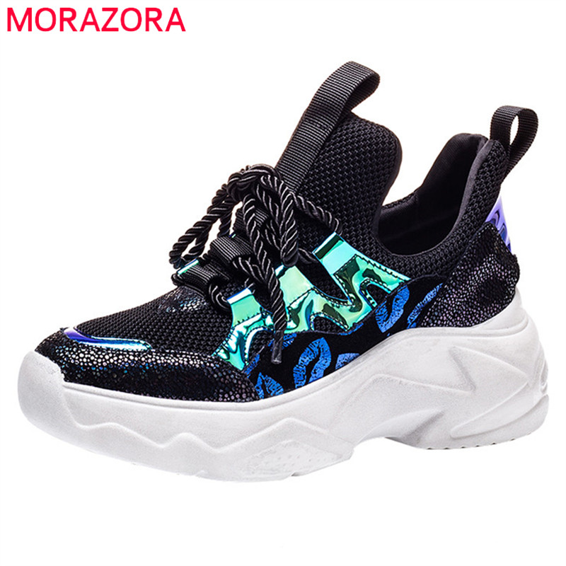 MORAZORA 2019 new arrival genuine leather shoes woman sneakers breathable mesh casual shoes woman summer flat