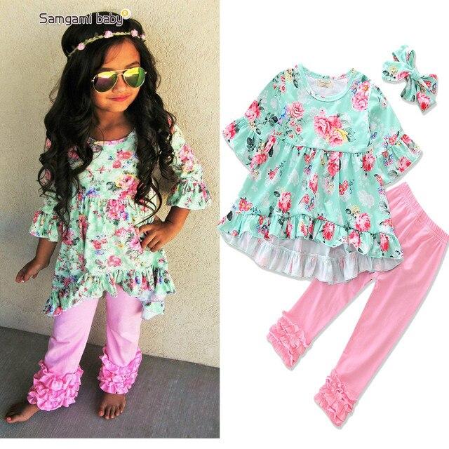 21826618f716 Autumn Girls Clothing 2017 Baby Girls Irregular Floral Dressy Tops+ ...