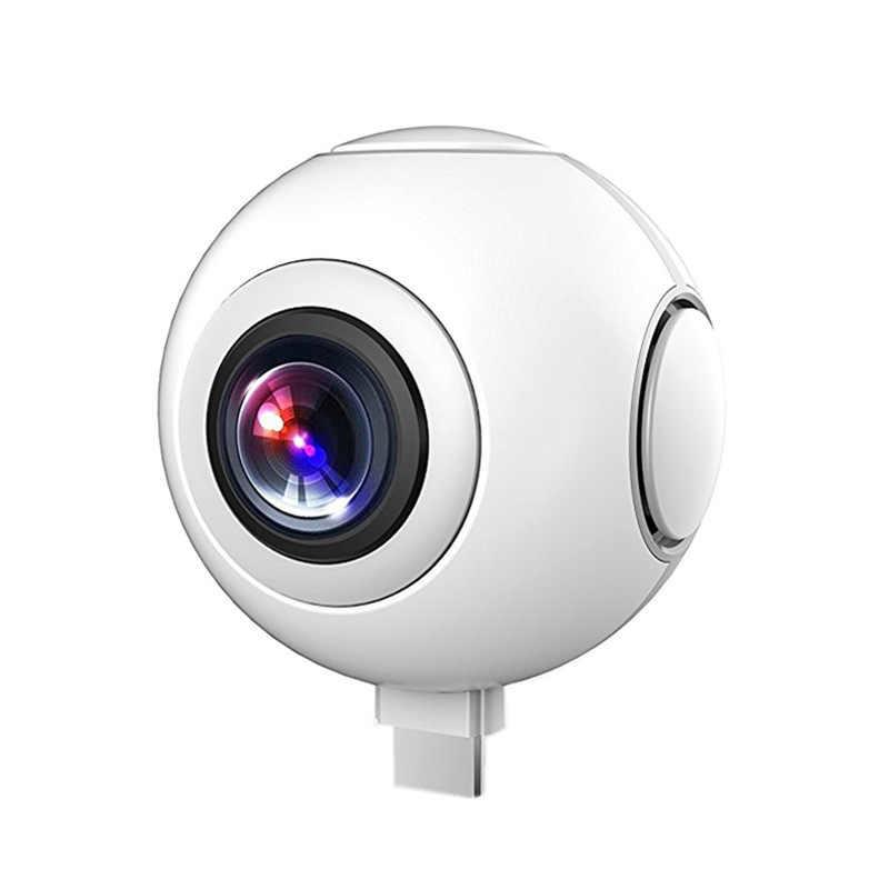720 градусов HD 360 видео VR камеры двойной широкоугольный объектив для съемки панорамы камера в режиме реального времени прямая трансляция для Android смартфона