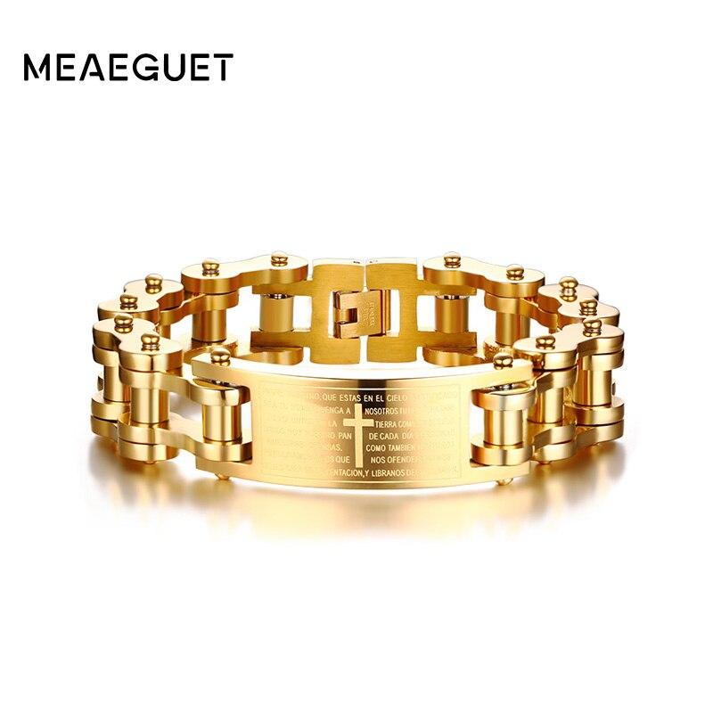 Meaeguet 18mm Wide Gold Color Stainless Steel Bike Motorcycle Chain Bracelet Cross Bible Lords Words Charm Bracelet Men Jewelry