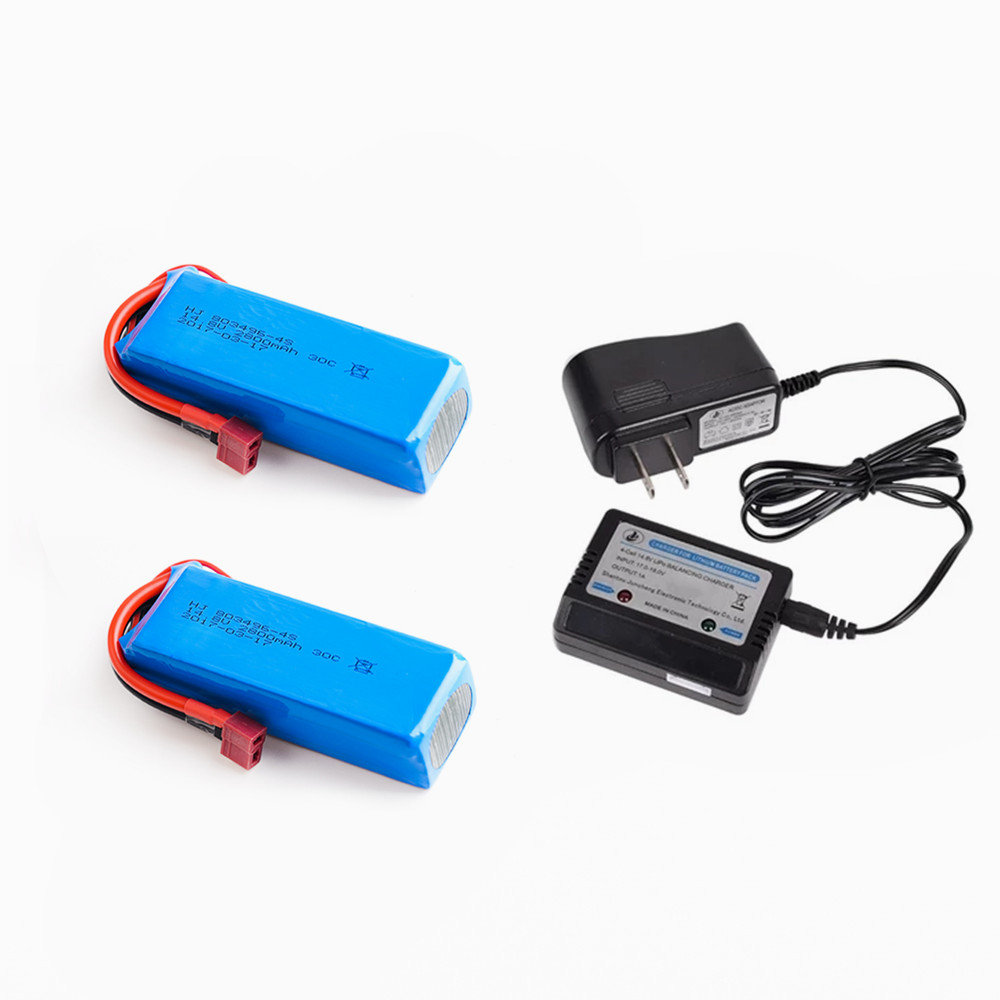 1 2 pcs RC <font><b>Lipo</b></font> Battery 14.8V <font><b>2800mah</b></font> 30C with balance charger for FT010 FT011 RC boat RC Helicopter Quadcopter image