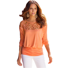 t-shirt women Loose long sleeves Lace Stitching O-Neck summer Autumn tee shirt femme tops vogue Solid color woman t shirts top simple long sleeves round neck solid color t shirt for women