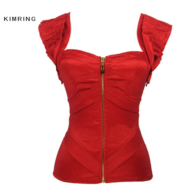 d4855677ab0 Kimring Women s Gothic Overbust Corset Tank Shoulder Strap Burlesque Satin  Zipper Corsets and Bustiers Body Shaper