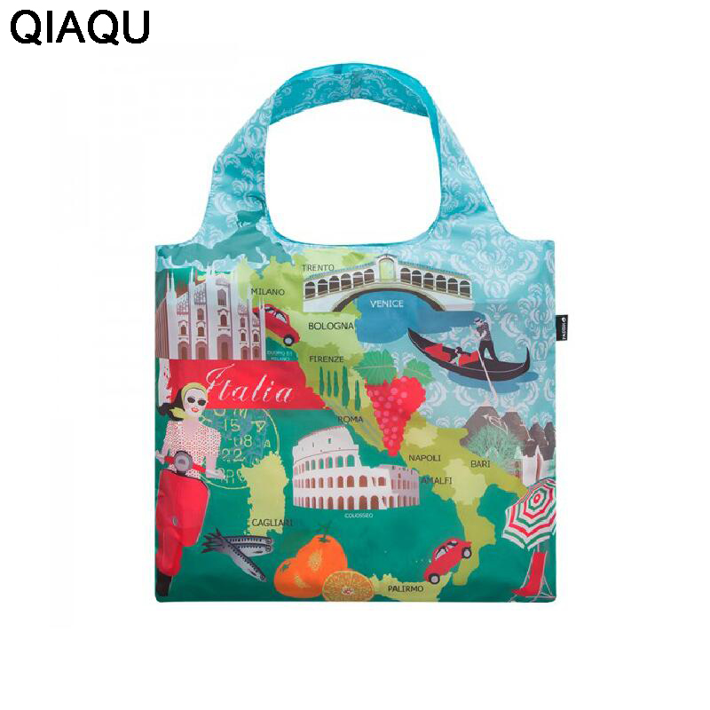 QIAQU Fashion Famous Cities Attractions Pattern Portable Travel Bag Waterproof Large Capacity Portable Beautician Bag Organizer