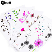 24 designs flower Waterproof temporary tattoo sticker lotus leaf girl lavender tatto stickers flash tatoo fake tattoos for women(China)