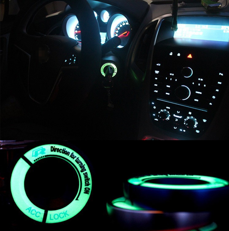 Luminous Ignition Key Ring Switch Cover Stickers For 2010