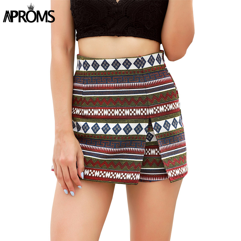 Aproms Boho Chic High Waist   Shorts   2019 Casual   Shorts   Skirts Women Streetwear Summer Multi Geometric   Shorts   Female Bottoms