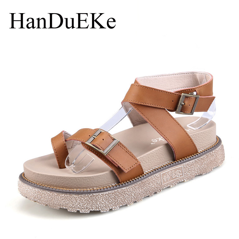 HanDuEKe Summer Women Gladiator Sandals Ladies Casual Fashion Cow Leather Women Sandals Wedges Platform Shoes Woman Beach Shoes women sandals 2017 summer style shoes woman wedges height increasing smile fashion gladiator platform female ladies shoes casual