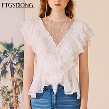 FTGSDLONG 2019 Summer New Pearls Blouses O Neck Print Lace Chiffon Shirt Batterfly Sleeve Blouse Fashion Office Lady White