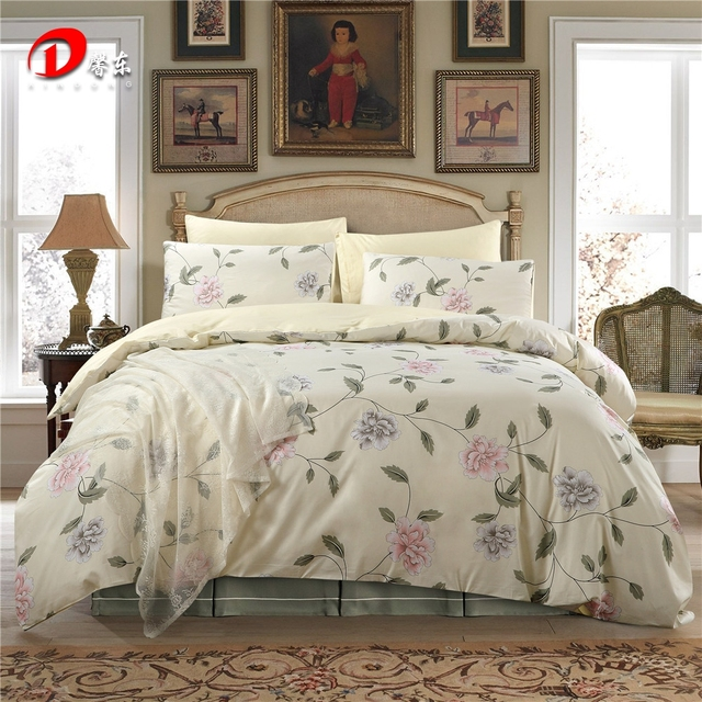 Leaf Fl Satin Bed Set Luxury Egyptian Cotton Bedding King Queen Size High Quality Linen Duvet Cover Z45