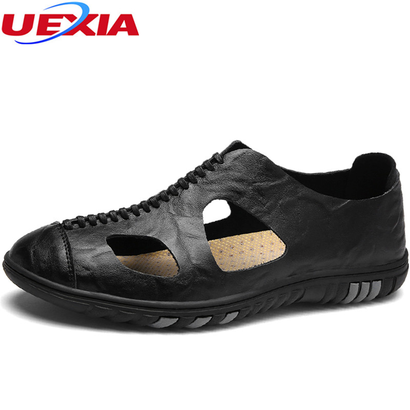UEXIA Leather Soft Men Sandals For Men Shoes Breathable Light Beach Summer Casual Quality Walking Slippers Outdoor Sandal Shoe