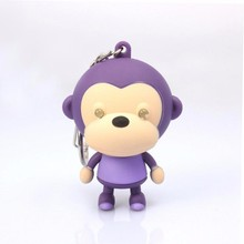 kids gift sound light keychains flashlight sound monkey ring cartoon toys animation led keychains pendant Fashion Jewelry