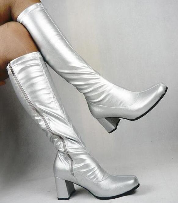 Большая распродажа, черные, красные, блестящие, из лакированной кожи, с круглым носком, на молнии сбоку, Сапоги До Колена Для Женщин, яркие цвета, женская обувь на массивном каблуке, wo