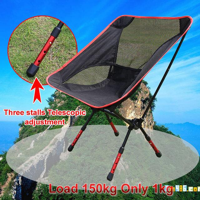 Novo Portátil Cadeira Dobrável Cadeiras de Pesca Camping Cadeira de Alumínio com Encosto Carry Bag Preto