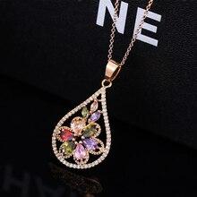 Luxury Flower Shaped Multicolor Crystal Pendant