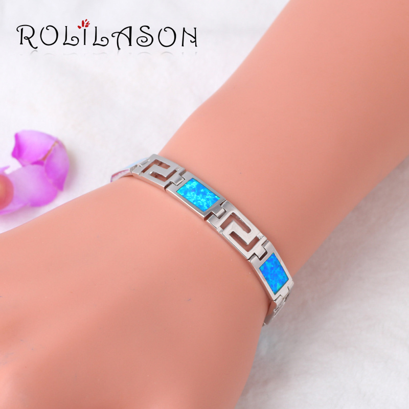 17.07g 7.8inch Blue Fire Opal Stamped Sterling Silver Bracelet Generous For Women Romantic Jewelry OB062