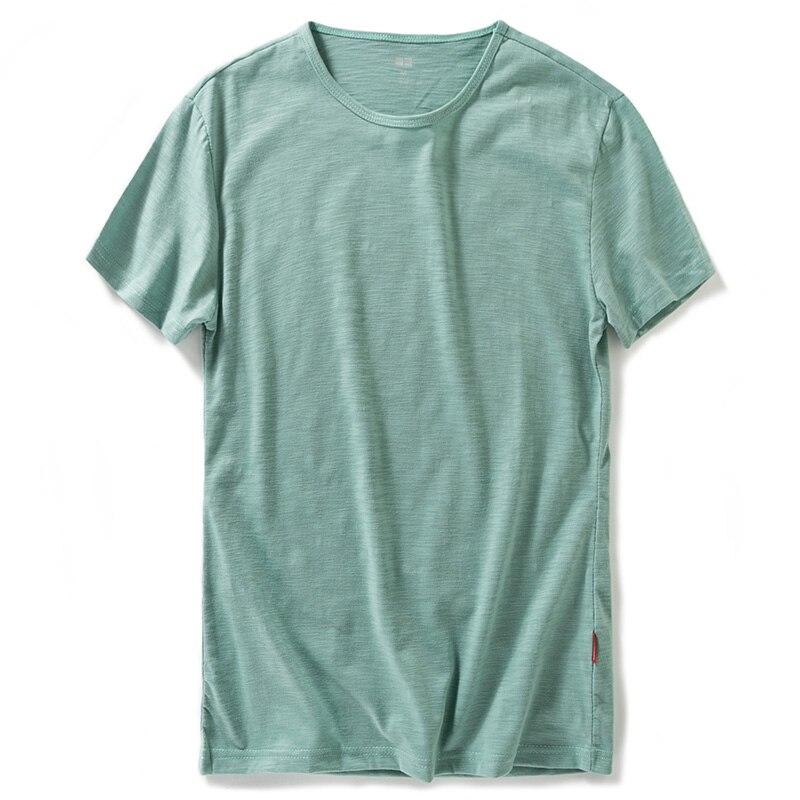 Nouveaux hommes À La Mode Casual Mode Folle Jeunesse Populaire Confortable Respirant Fiber De Bambou Col Rond Solide Couleur T-shirt