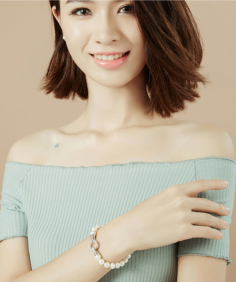 YANCEY Neues Armband aus 9-10 mm großen Süßwasserperlen in Weiß - Edlen Schmuck - Foto 5