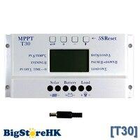 Solar Controller MPPT T30 12v 24v Auto Work Voltage Settable Intelligent Lighting and Dual Timer Control Solar Regulator
