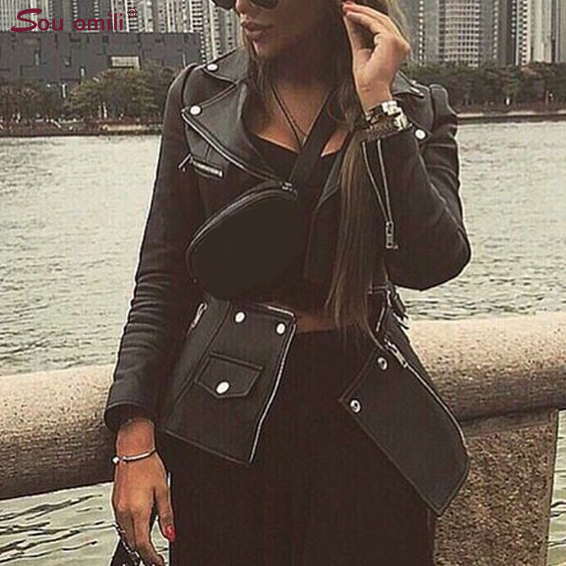 Detachable Leather Jacket Women Moto Coat Rock Faux Jacket with Belt jaquetas couro Casaco chaqueta mujer