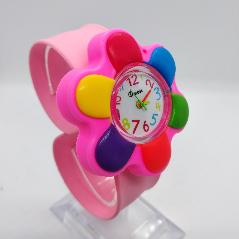 New Hot Sale Fashion Unique Style 3D Flower Watch Children Silicone Kids Watches Child Quartz WristWatch Slap Cute Baby Gift