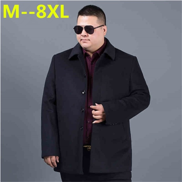 9db634761f6f1 2018 big size 8XL 6XL 5XL 4XL new winter wool long coat men warm black  business overcoat mens Stylish woolen jacket Parka button