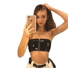 9ccac513c8 sexy PU faux leather zipper wrapped chest female zip up strapless shirt club  party tube top bustier bandeau crop top WHT2444