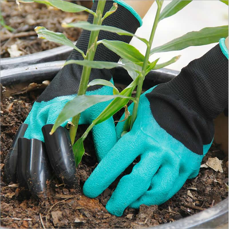 Hot Rubber Garden Gloves With Fingertips Claws Quick Easy to Dig and Plant Safe for Pruning Mittens Digging Latex Work Glove 50pcs disposable safety protective latex for home cleaning industria rubber long female kitchen wash dishes garden work gloves a