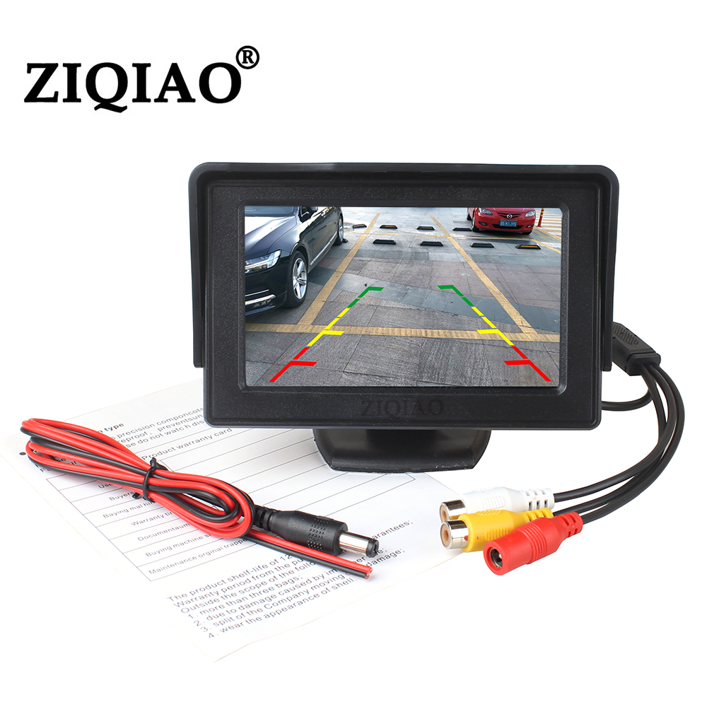 ZIQIAO 4.3 Inch TFT LCD Car Monitor Display Wireless Cameras Reverse Camera Parking System for Car Rearview Monitors NTSC PAL(China)