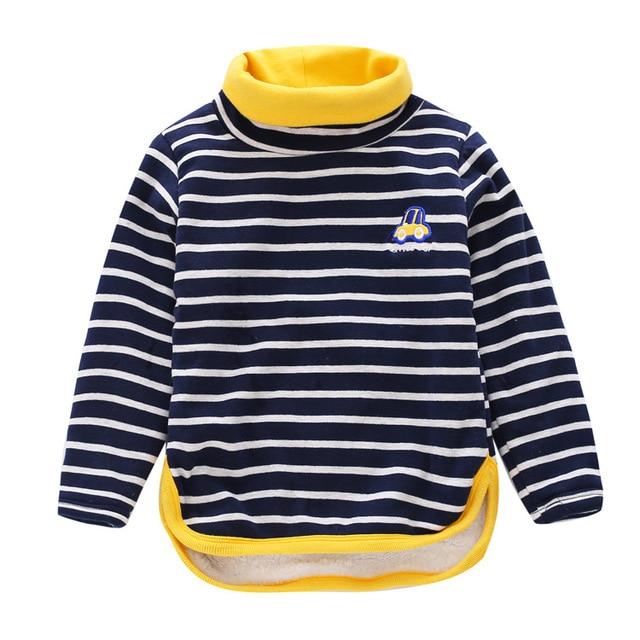 Toddler Clothing Kids Boys Turtleneck T Shirt Autumn winter Children Boys Striped T Shirt Little Boys Long Sleeve cars T Shirt