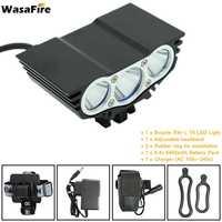 WasaFire 3 * XM-L T6 אופני פנס 8.4 V 6400 MAh סרט מתכוונן נייד בטיחות אור אופניים + סוללות + מטען