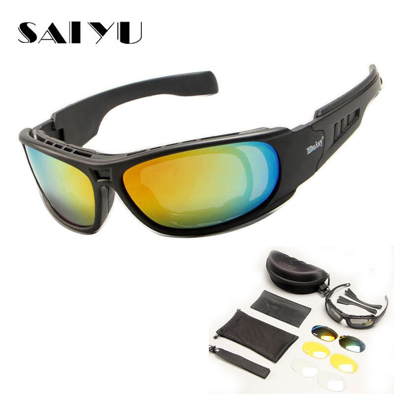63a3c27b93 SAIYU Tactical C6 Glasses Military Goggles Bullet-proof Army Sunglasses  With 4 Lens Men Shooting Eyewear Motorcycle Gafas