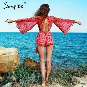 Image 2 - Simplee Backless lace up floreale delle donne della tuta del pagliaccetto 2018 Della Stampa femminile della tuta sexy di estate tuta tuta catsuit body