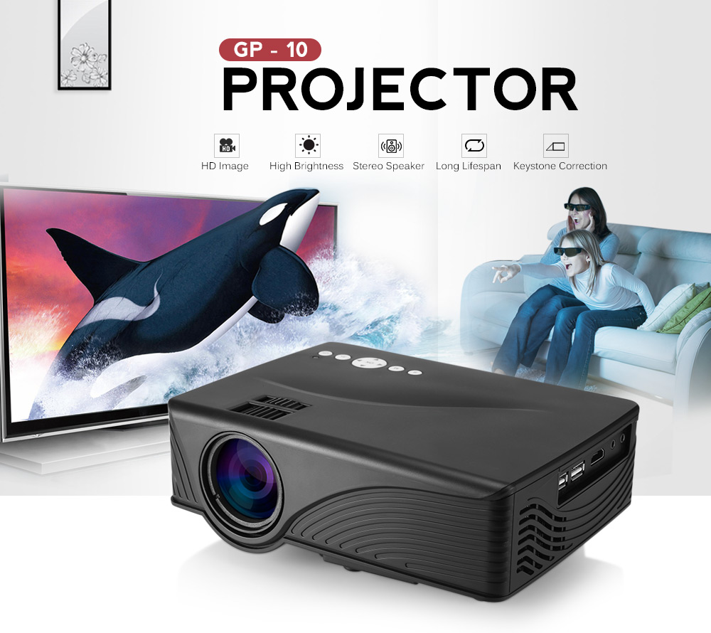 Coolux GP-10 GP10 Mini LCD Projector 2000 Lumens 800 x 480P Support 1080P Red-Blue 3D Home Theater Projector
