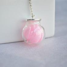 Hortensia rosa Real Flor de la Bola De Cristal Grande 925 Gargantilla Collar y Colgantes de Las Mujeres de La Vendimia Accesorios de Joyería Fina