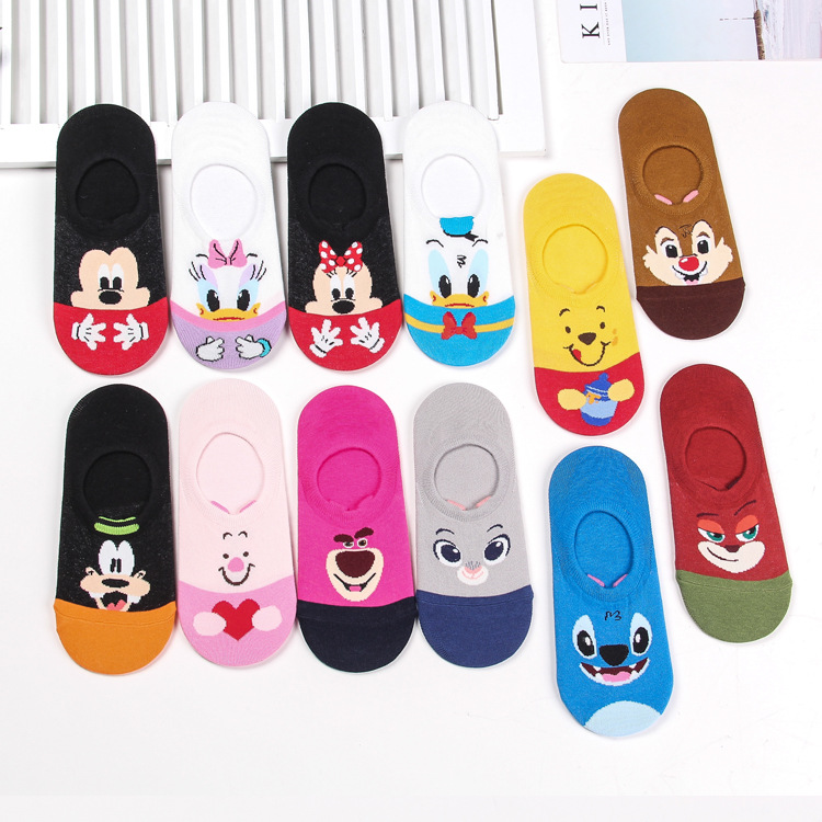 Hot Sale Women's Korean Style Cartoon Pattern Cute Girls Boat Cotton Socks Fashion Funny Happy Novelty Ladies Shorts Socks