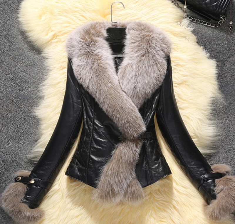 Winter New Slim Faux Fox Fur Pu   Leather   Short Coat Turn-Down Collar Faux   Leather   Jacket Fashion Biker Motorcycle   Leather   Jacket
