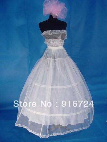 White  A-Line  2-Hoop Tulle Net Wedding Bridal Prom Show Crinoline Slip Skirt Petticoat