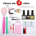Nail Art Manicure Tools 3W UV Lamp + 5 Color 10ml soak off Gel nail base gel top coat polish with Remover Practice set File kit