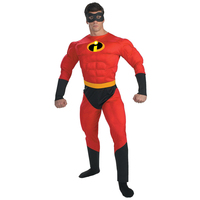 On Sale Adult Men's Muscle Mr. Incredible Halloween Costume Superhero Fantasy Cartoon Movie Fancy Dress Cosplay Clothing
