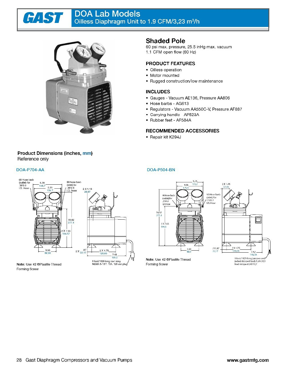 New Gast Doa P504 Bn Diaphragm Compressor Vacuum Pump Ac220v In Oilless Wire Diagram Aeproduct
