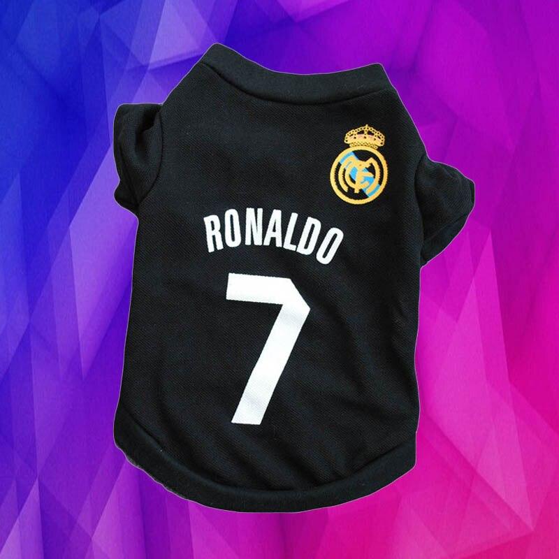 dede69f2f3f Small Dog Football Hoodies Teddy Puppy Sport Real Madrid C Ronaldo 7 Shirt  Vest Pet Clothes