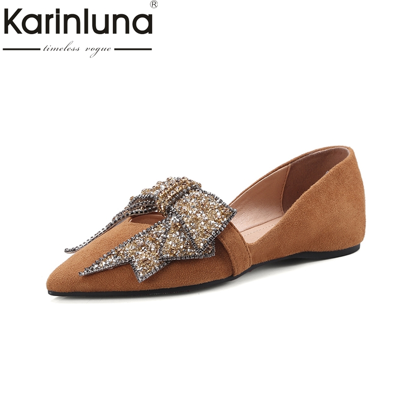 KarinLuna hot sale kid suede leather large Size 34-42 bowite black Shoes for Woman Pointed Toe Comfortable Spring Autumn Flats meotina brand design mules shoes 2017 women flats spring summer pointed toe kid suede flat shoes ladies slides black size 34 39