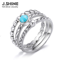 JShine Bohemian S925 Sterling Silver Statement Ring Personlity Layered Uneven Rings For Women with Stone Gift Fine Jewelry