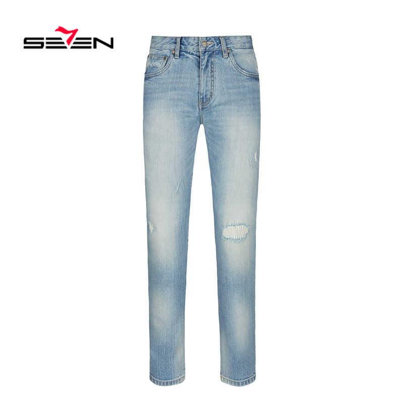 Seven7 mężczyźni stylowe dżinsy zgrywanie spodnie Biker Slim proste Hip Hop postrzępiony spodnie jeansowe nowe mody jeansy 2019 mężczyźni 114S80160